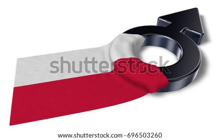 mars symbol and flag of poland - 3d rendering