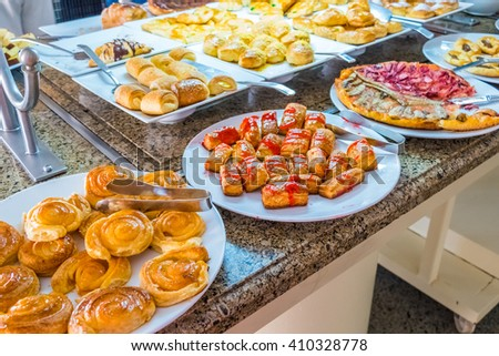 MARSA ALAM , EGYPT, MARCH 29, 2016:   Three Corners Equinox Beach Hotel at Red Sea shore - sweet buffet - stock photo