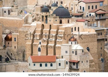 Marsaba monastery in the Judean desert in Israel - stock photo