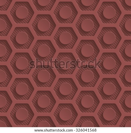 Marsala color perforated paper with cut out effect. 3d seamless background.  - stock photo