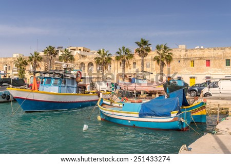 Marsaxlokk harbour in Mlata - stock photo