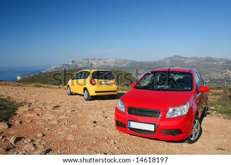 MARSEIILE, FRANCE - FEBRUARY 21, 2008: Two small family cars - stock photo