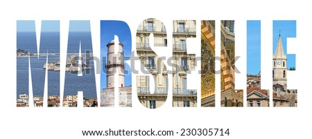 Marseille colorful landmarks letters - stock photo
