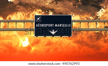 Marseille France Airport Highway Sign in an Amazing Sunset Sunrise 3D Illustration