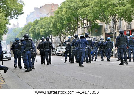 Marseille, France - April 28, 2016 : French riot police during a protest against labor law