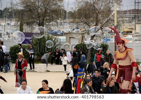 Marseille, France - April 05, 2016 : Persons pictured during a carnival