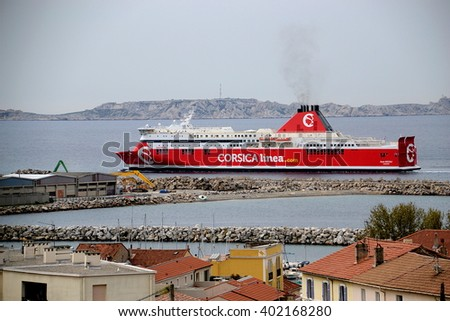 "Marseille, France - April 07, 2016 : Picture shows the former SNCM ferry boat ""Jean Nicoli"" bearing the color and logo of ""Corsica-Linea"" in Marseille, southeastern France"