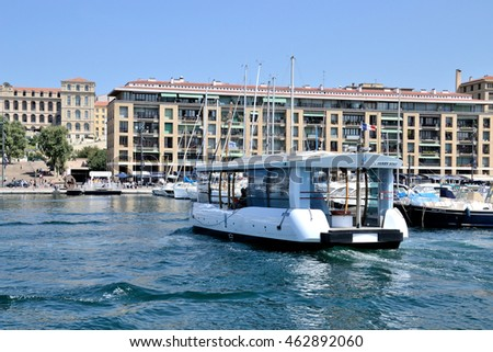 Marseille, France - August 03, 2016 : Le Ferry Boat pictured in the old port of Marseille (Vieux-Port de Marseille in french)