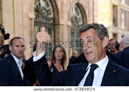 Marseille, France - August 25, 2016 : Nicolas Sarkozy (former President of the French Republic on 16 May 2007 to 15 May 2012) in campaign for new presidential elections.