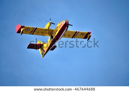 Marseille, France - August 11, 2016 : Seaplane Canadair in action