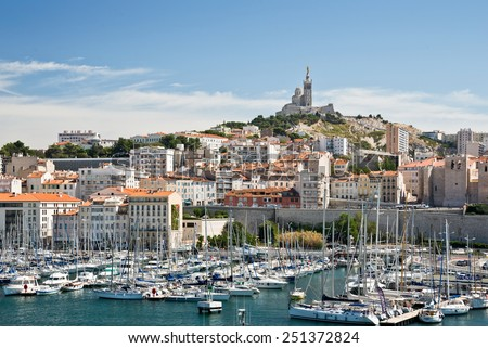 MARSEILLE, FRANCE - AUGUST 26: The Old Port of Marseille, the main popular place of the phocean city, on August 26, 2013 in Marseille, France - stock photo