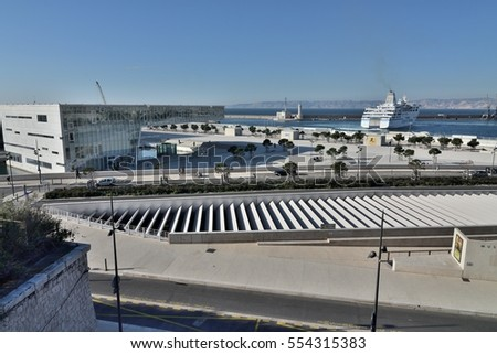 Marseille, France - January 09, 2017 : Algerian cruise ship photographed in the large port of Marseille next to the Mediterranean Villa