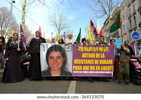 Marseille, France - January 18, 2016 : Kurdish women demonstrate in Marseille, southeastern France, during a protest held on the International women's day, on March 8, 2015.