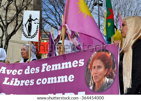 Marseille, France - January 19, 2016 : Kurdish women demonstrate in Marseille, southeastern France, during a protest held on the International women's day, on March 8, 2015.