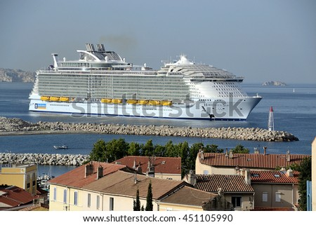 Marseille, France - July 12, 2016 : The Harmony of the Seas, the world's biggest-ever cruise ship, in the port of Marseille, southern France, for a cruise stopover