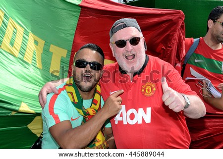 Marseille, France - June 30, 2016 : Portuguese supporters pictured in Marseille during the 2016 UEFA European Championship in France