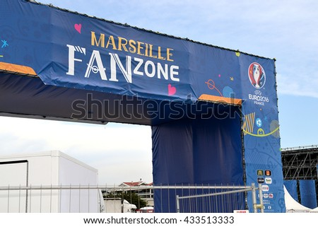 Marseille, France - June 07, 2016: View of the fan zone of the 2016 UEFA European Championship in France