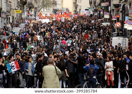 Marseille, France - March 31, 2016 : Thousands of protesters march during a demonstration against the French government's planned labor law reforms