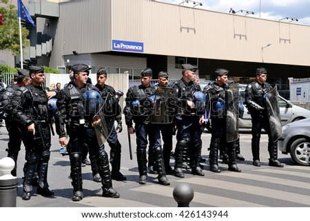 Marseille, France - May 23, 2016 : French gendarmes pictured during a demonstration to protest against the government's planned labor reforms