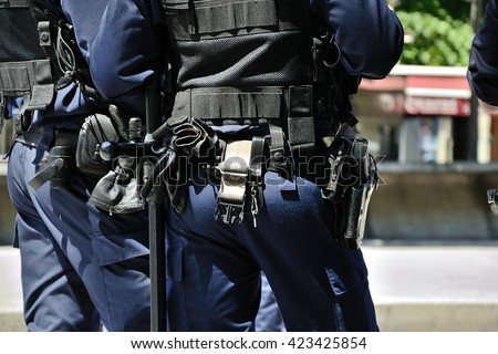 Marseille, France - May 18, 2016 : French policemen pictured during a demonstration