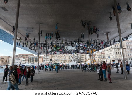 MARSEILLE, FRANCE - NOVEMBER 5, 2014: Norman Foster's pavilion with mirrored ceiling. - stock photo