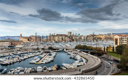 MARSEILLE, FRANCE - NOVEMBER 11, 2014: Panoramic view of the Vieux-Port - stock photo