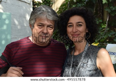 Marseille, France - October 06, 2016 : Cartoonists Antonio Moreira Antunes and Marilena Nardi at the 5th edition of the International festival of press and political cartoons at l'Estaque.