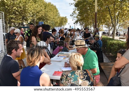 Marseille, France - October 06, 2016 : Cartoonists at the 5th edition of the International festival of press and political cartoons at l'Estaque.