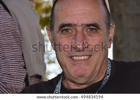 Marseille, France - October 06, 2016 : French cartoonist Charles Gobi at the 5th edition of the International festival of press and political cartoons at l'Estaque.