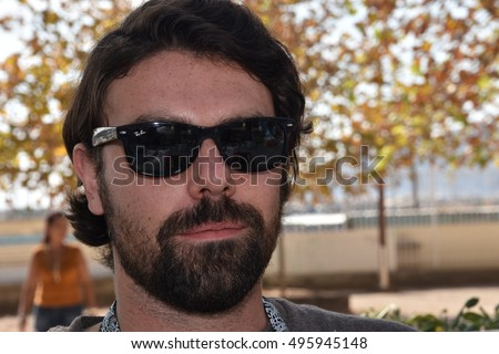 Marseille, France - October 06, 2016 : French cartoonist Flavien Moreau at the 5th edition of the International festival of press and political cartoons at l'Estaque.