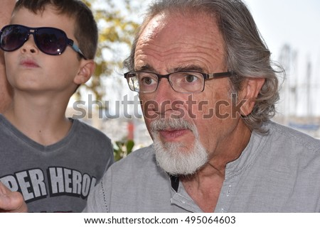 Marseille, France - October 06, 2016 : French cartoonist Philippe Moine at the 5th edition of the International festival of press and political cartoons at l'Estaque.