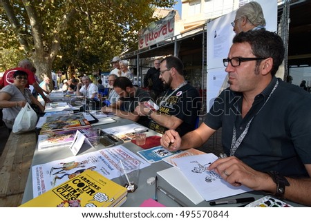 Marseille, France - October 06, 2016 : French cartoonists at the 5th edition of the International festival of press and political cartoons at l'Estaque.