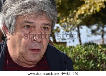 Marseille, France - October 06, 2016 : Portuguese cartoonist Antonio Moreira Antunes at the 5th edition of the International festival of press and political cartoons at l'Estaque.