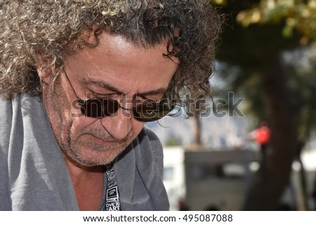 Marseille, France - October 06, 2016 : Serbian cartoonist Zoran Petrovic at the 5th edition of the International festival of press and political cartoons at l'Estaque.