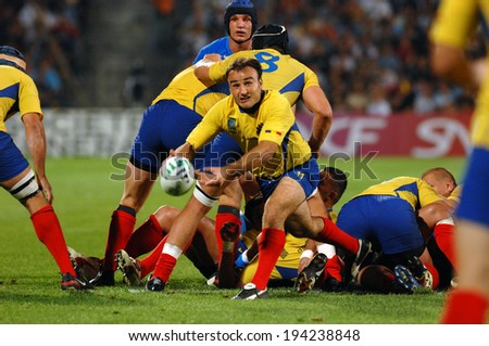 MARSEILLE, FRANCE-SEPTEMBER 13, 2007: Romanian Gabriel Brezoianu throwing the ball, during the rugby match Italy vs Romania, of the Rugby World Cup, in Marseille.