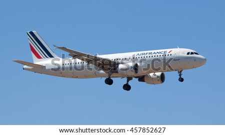 MARSEILLE PROVENCE AIRPORT, FRANCE - JULY 13, 2016: Air France Airbus A320-214 (F-HBNF) on approach to land at Marseille Provence Airport, France.