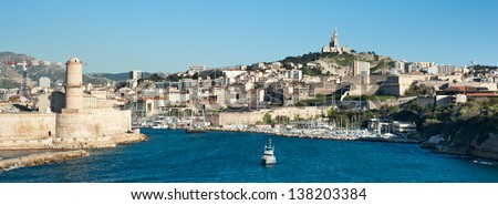 Marseille skyline 2013 seen from the sea - stock photo