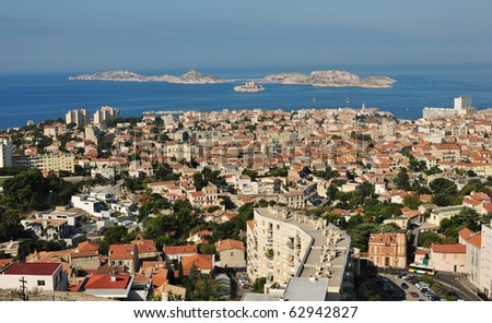 Marseille with the islands and Iv castle - stock photo