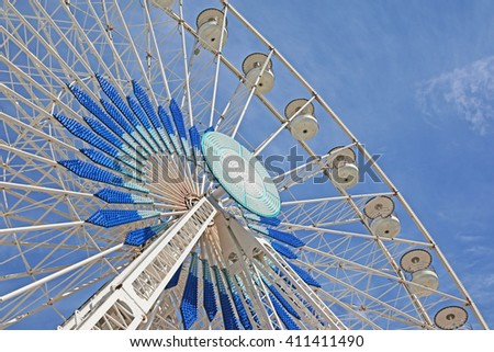 MARSEILLES, FRANCE - APRIL 23, 2016: Close-up of the Big Wheel, Old Port.  Marseilles is the second largest city in France after Paris and the center of the third largest metropolitan area