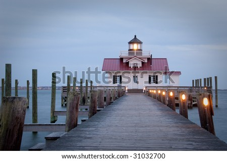 Marsh Lighthouse in Manteo, North Carolina, USA taken at dusk