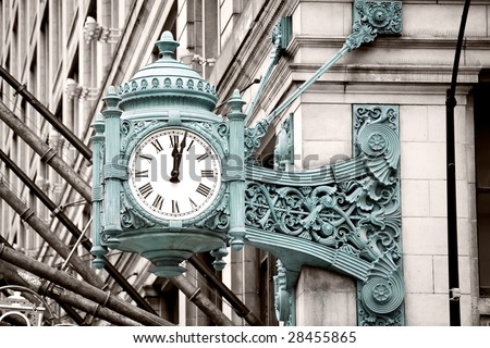 Marshall Field's Clock on State Street in Chicago - stock photo