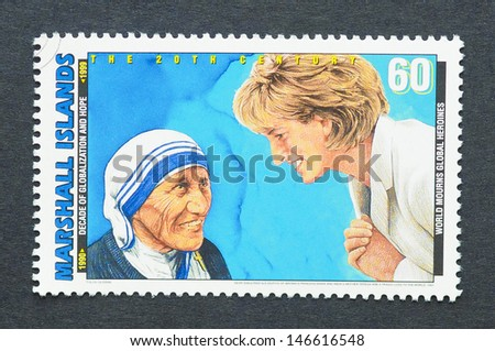 MARSHALL ISLANDS - CIRCA 1991: a postage stamp printed in Marshall Islands showing an image of Nobel Peace prize winner Mother Teresa and Lady Diana, Princess of Wales, circa 1991.  - stock photo
