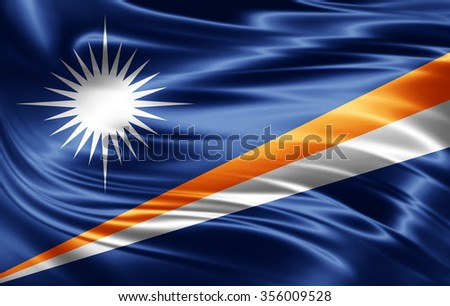 Marshall Islands  flag of silk  - stock photo