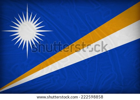 Marshall Islands flag pattern on the fabric texture ,retro vintage style - stock photo