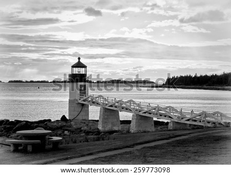 Marshall Point Lighthouse at sunset in black and white - stock photo