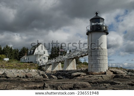 Marshall Point Lighthouse in Port Clyde, Maine - stock photo