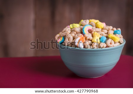 Marshmallow Cereal in a Blue Bowl