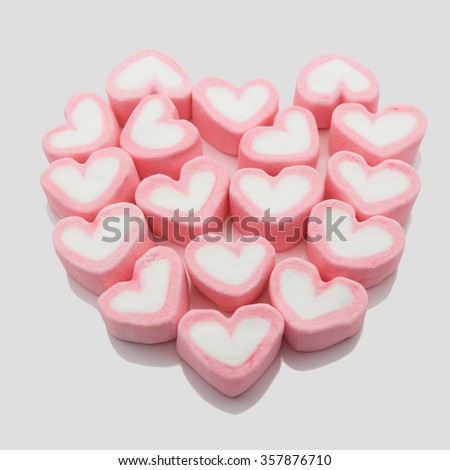 Marshmallow hearts valentine's day concept