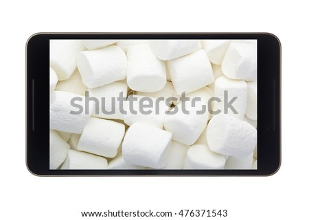 Marshmallow in smartphone isolated on white background