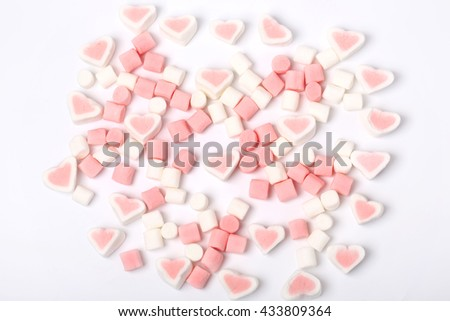 marshmallow isolated on white background composition romantic Valentine's Day Love